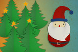 Santa Claus papercut ongrunge background with tree poster