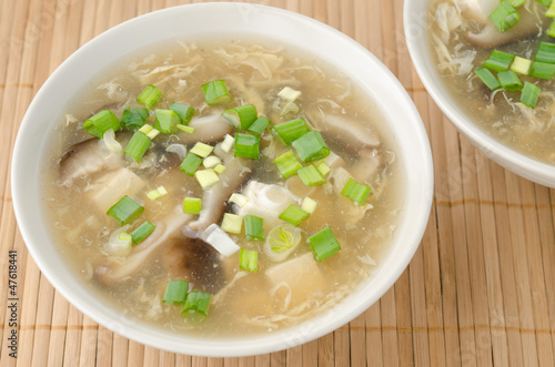 Chinese spicy soup with egg, shiitake mushrooms, tofu and green
