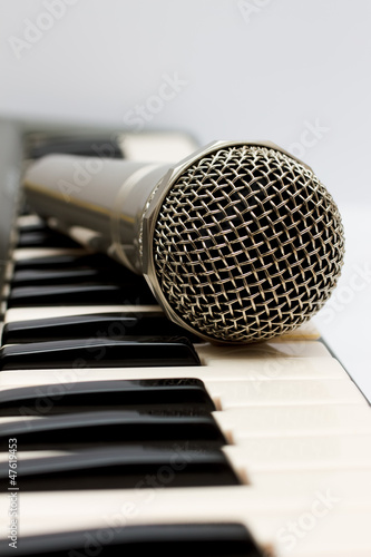 Microphone and electronic keyboard