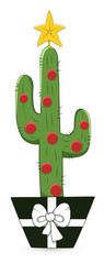 Cartoon Cactus - Christmas Vector Illustration