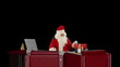 Santa Claus reading letters and sorting presents, against black