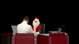 Santa Claus is sick, Doctor measuring blood pressure