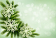 Christmas green background with christmas tree branches and snow