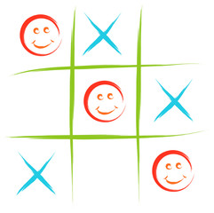 smiley tic tac toe game vector sketch