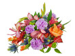 colorful floral bouquet of roses,cloves and orchids isolated on