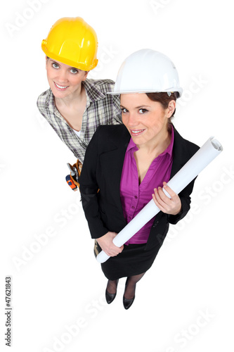 businesswoman and craftswoman posing together