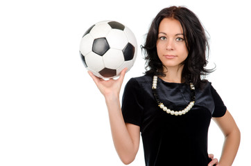 Sexy brunette with a soccer ball