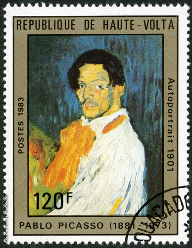 UPPER VOLTA - 1983: shows Self-portrait, by Pablo Picasso, 1901