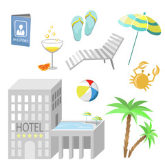 icons - rest in hotel (vector)