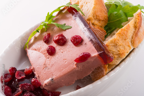 wild pie with aspic and cranberry