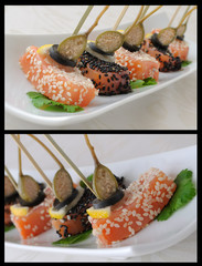 Pieces of salmon in sesame with capers