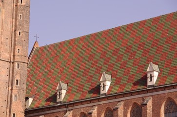 The saint Elizabeth church with the colorful roof in Wroclaw
