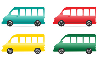 set of isolated colorful minibus on white background