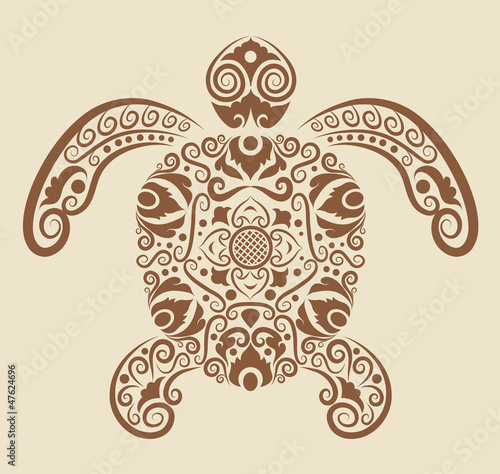 Aluminium Floral Ornament Turtle ornament vector