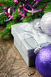 Christmas gift box and festive decorations