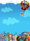 Cartoon city look with hotrod