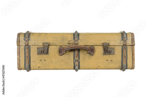 old vintage wooden suitcase, isolated on white