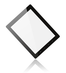 Black digital tablet pc on white background .