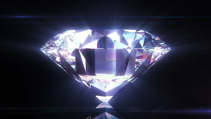 Beautiful Diamond Close-Up with Matte in Looped animation.