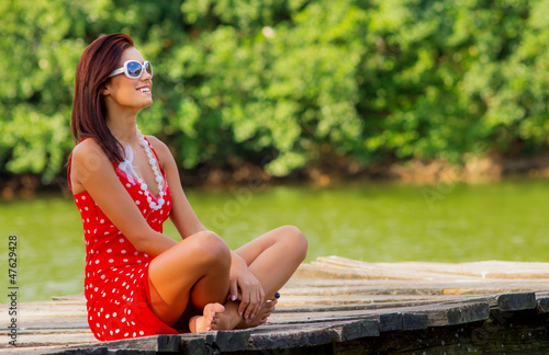 Young woman repose in summer day