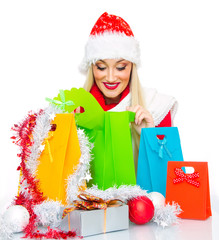 Christmas or santa claus woman gift. Isolated on white