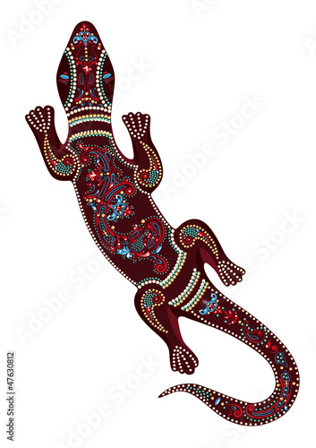 Lizard with decorative patterns