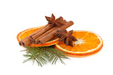 orange, cinnamon with fir branch isolated on white