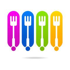kitchen menu colored logo icon