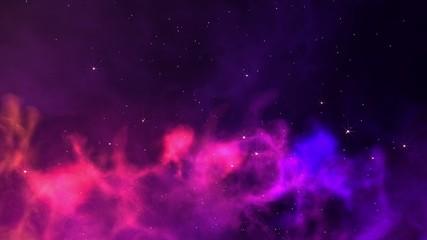 Slowly travelling through colorful nebula clouds.
