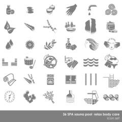 zestaw 36 ikon spa basen rekreacja pielęgnacja szary monochrom