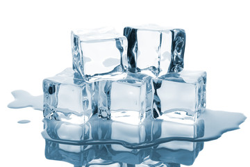 Five ice cubes with reflection