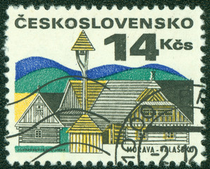 stamp printed in the Czechoslovakia, shows Old houses