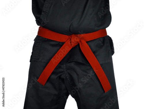 Karate Red Belt Tied Around Torso Black Uniform