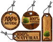 100% Natural - Wooden Tags - 4 items