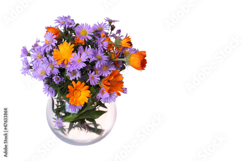 Сalendulas and New York Aster in vase