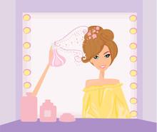 Vector illustration de la belle femme dans la coiffure salo
