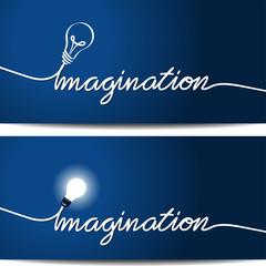 Bombilla y cable formando la palabra imaginación