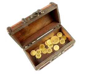 Treasure chest with gold on white background.