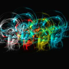 jeu de fumée lumineuse et colorée