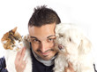 guy with cat and dog