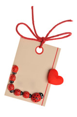 blank tag label  with red ribbon