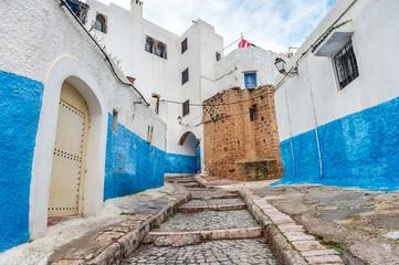 Kasbah des Oudaias blue stairs in Rabat, Morocco