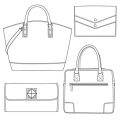 Set of bags. Accessorize set. Vector