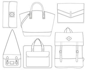 Set of bags contour.