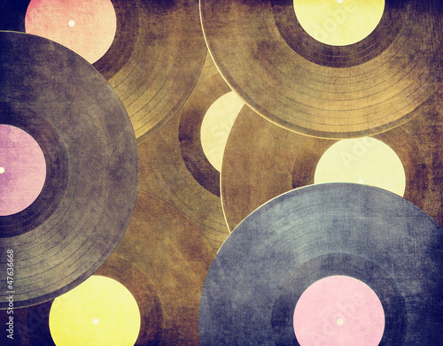 Fototapety, obrazy : Vintage musical background, vinyl records