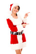 Female Santa pointing