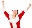 Happy female Santa with arms up