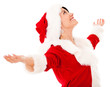 Happy female Santa with arms open