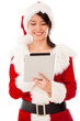 Female Santa with a tablet computer