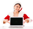 Mrs Claus with a laptop